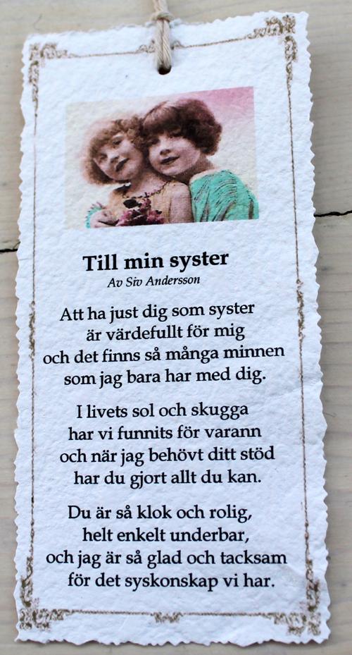 syster dikt födelsedag Diktkort